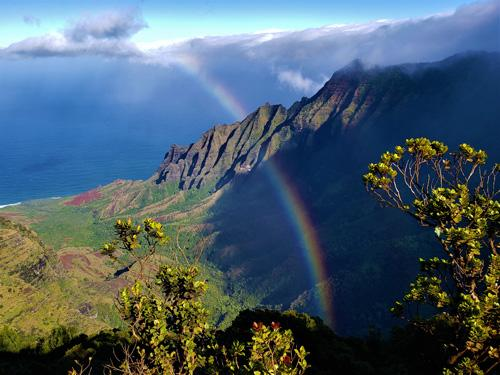 Rainbow over mountain in Hawaii