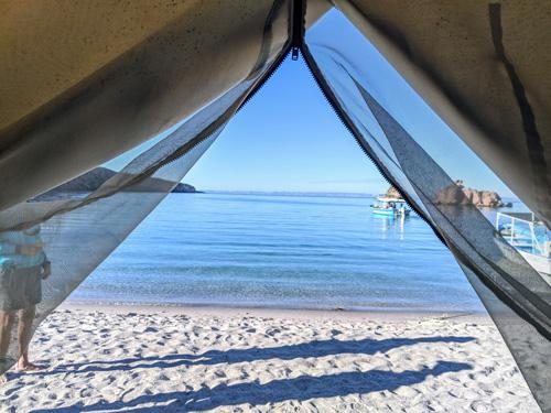 View of bay from inside a tent