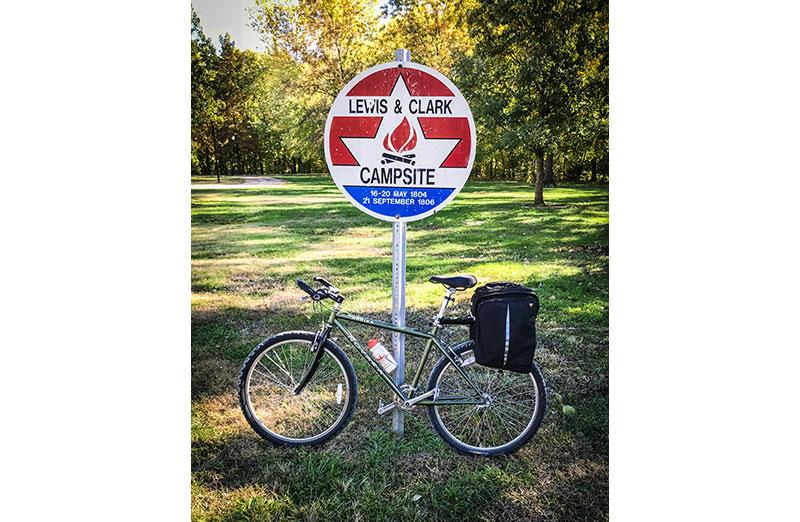 Photo of bike against sign