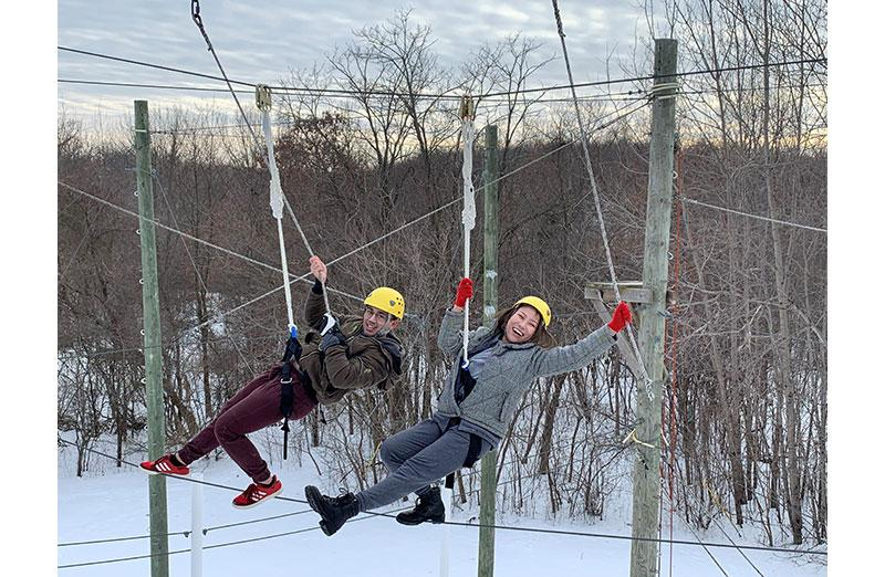Photo of people on a rope course