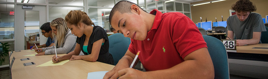 students taking tests in testing lab