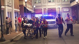 emt students in an emergency simulation